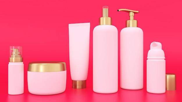 3d-rendering mockup voor cosmetische containers