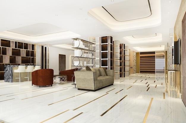 3d rendering modern luxe hotel en kantoor receptie en vergaderlounge
