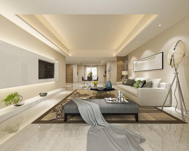 3d-rendering moderne eetkamer en woonkamer met luxe decor