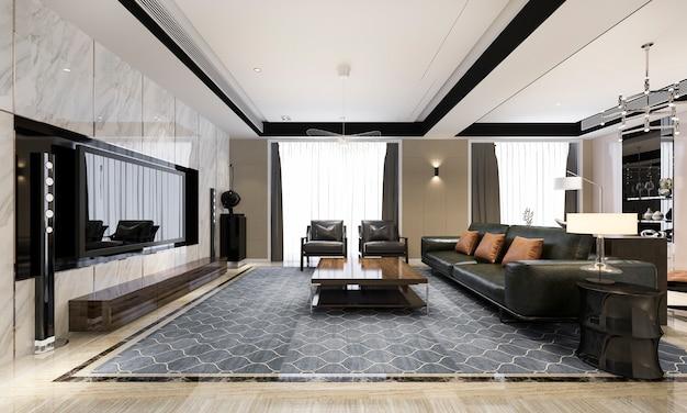 3d-rendering moderne eetkamer en woonkamer met luxe inrichting en lederen bank
