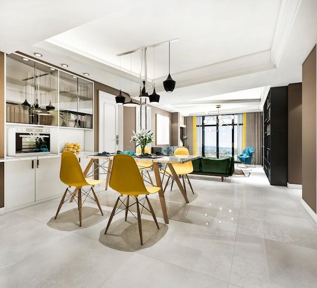 3d-rendering moderne eetkamer en woonkamer met luxe inrichting met gele stoel