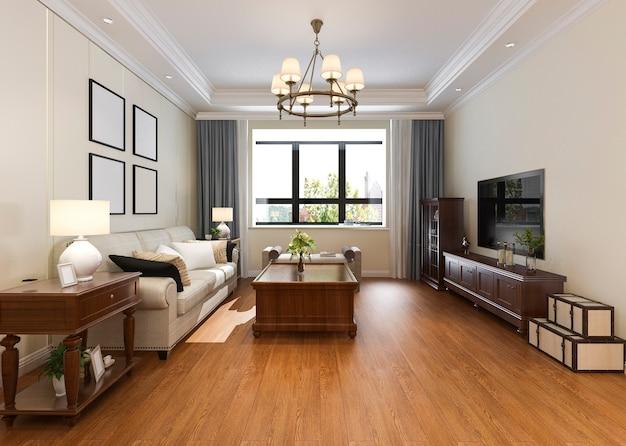 3d-rendering moderne klassieke woonkamer met kroonluchter