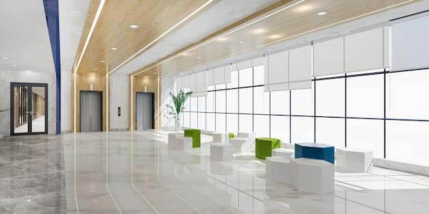 3d-rendering moderne luxe hotel en kantoor receptie en lounge met sofa in de buurt van lift gang