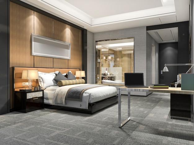 3d-rendering moderne luxe slaapkamer suite en badkamer