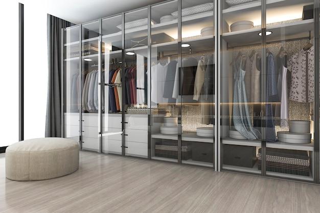 3d-rendering moderne scandinavische witte houten inloopkast met kledingkast in de buurt van raam