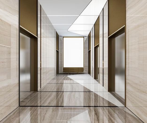 3d-rendering moderne stalen lift lift lobby in zakenhotel met luxe design