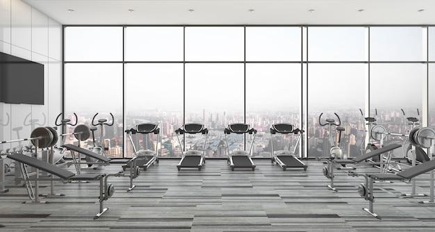 3d-rendering moderne stijl fitness en sportschool met uitzicht op de stad en de lucht