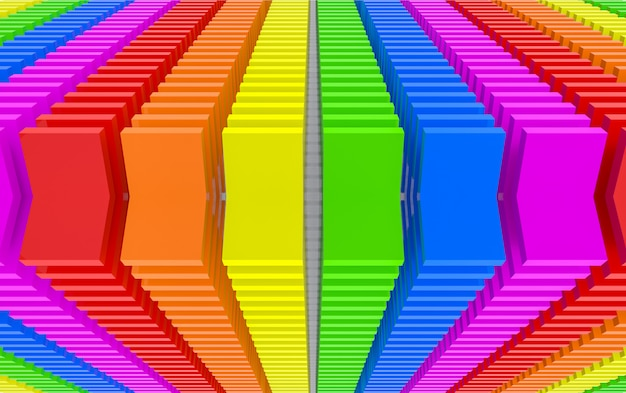 3d-rendering. moderne tik lgbt van het het paneelblok van de regenboogkleur de kunstachtergrond van de muur.