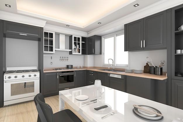 3d-rendering moderne zwarte en koele keuken en eetkamer