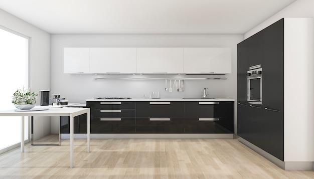 3d-rendering moderne zwarte keuken in de buurt van het venster