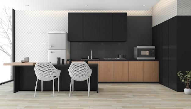 3d-rendering moderne zwarte keuken met houten vloer in de buurt van venster
