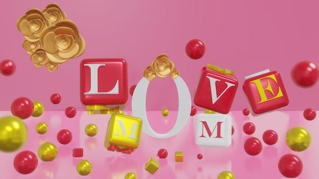 3d-rendering moederdag kaart in roze achtergrond en kubus met tekst 3d render illustratie