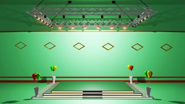 3d-rendering moke up, podium voor weergave, symptoomtekst, abstract groen