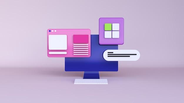 3d-rendering monitor pc en dashboard illustratie voor het web