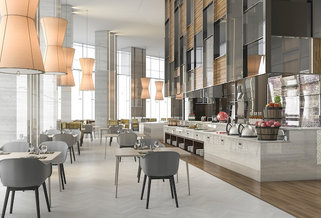 3d-rendering mooi restaurant met elegante decoratie