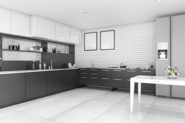 3d-rendering mooie eigentijdse stijl zwarte keuken