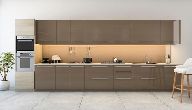 3d-rendering mooie houten keuken met moderne inrichting