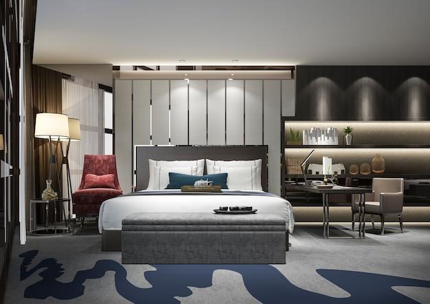 3d-rendering mooie luxe slaapkamer suite in hotel met tv en werktafel en plank