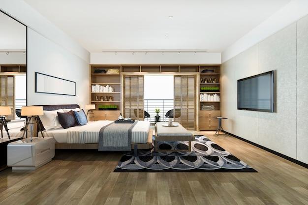 3d-rendering mooie luxe slaapkamer suite in hotel met tv