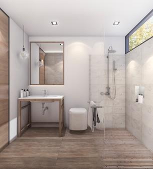 3d-rendering mooie toon badkamer met goede decoratie