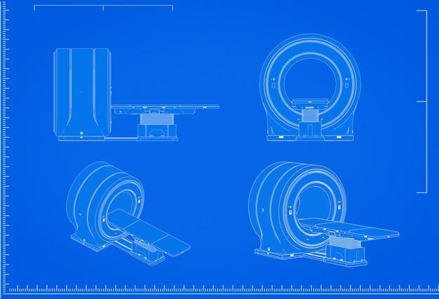 3d-rendering mri-scanner machine blauwdruk met schaal op blauwe achtergrond