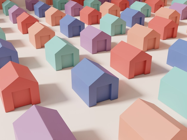 3d rendering multi pastelkleuren studio shot miniatuur of rainbow jigsaw blokken huizen achtergrond