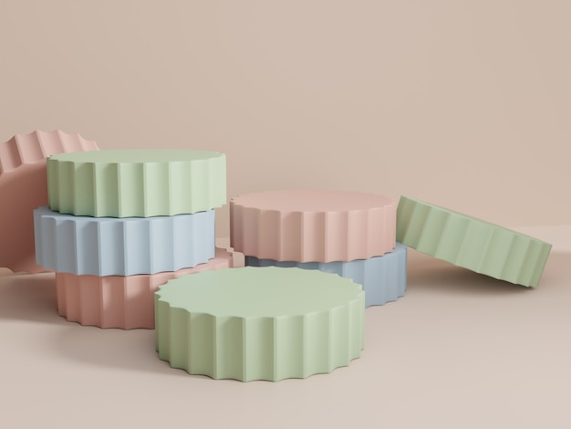 3d-rendering multikleuren studio-opname productweergaveachtergrond met stapelplatformblokken