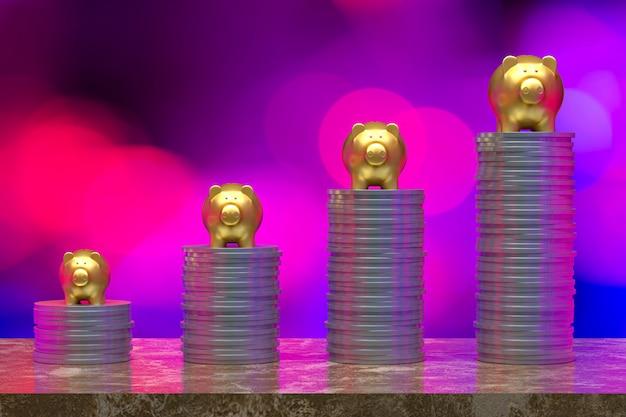 3d-rendering, munt met een piggy goud, besparing opgroeien voor zakelijke en financiële concept idee, munt op lichte abstracte achtergrond selectieve lege kopie ruimte voor promotie sociale media banners