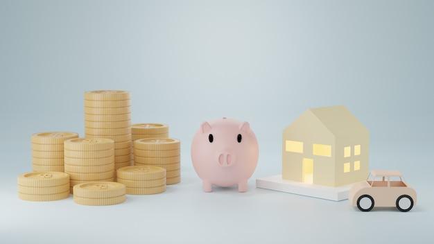 3d-rendering. munten goud. concept van sparen of geld, investeringen in de bank.