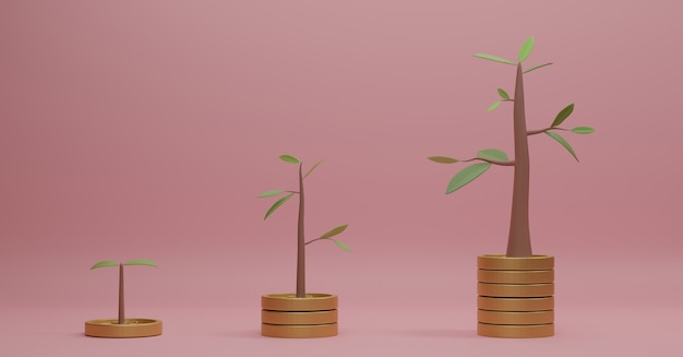 3d-rendering muntstapels met bomen bovenop op roze achtergrond.