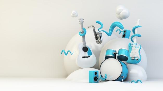 3d-rendering muziek illustratie
