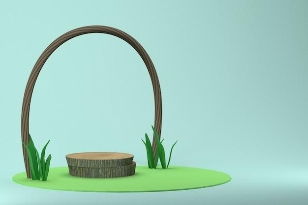 3d-rendering natuurlijke houten standaard op blauwe achtergrond