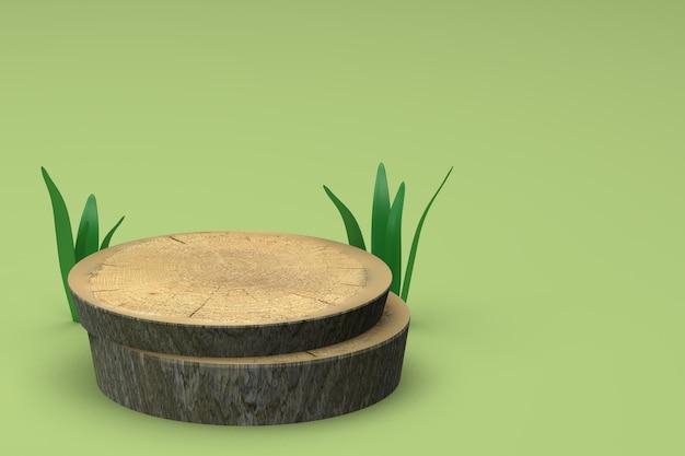 3d-rendering natuurlijke houten standaard op groene achtergrond