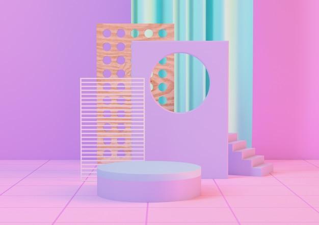 3d-rendering neon schoon product voetstuk platform in roze neon en blauwe kleuren