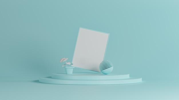 3d-rendering nieuwe luxe achtergrond, blauwe objecten vormen op witte vloer, 3d illustratie