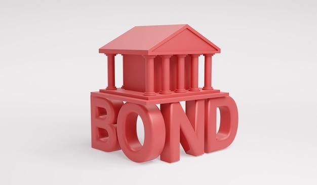 3d-rendering overheidsgebouw pictogram op tekst obligatie in rood op witte achtergrond concept van investering