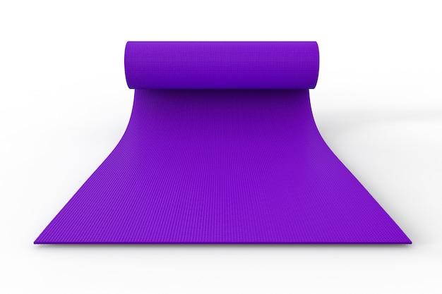 3d-rendering paarse yoga mat oprollen op witte achtergrond