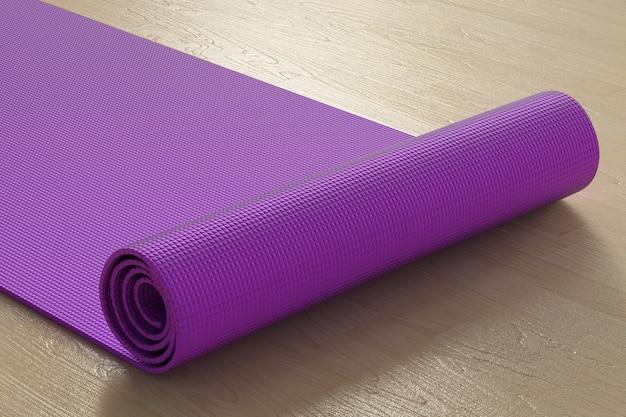 3d-rendering paarse yogamat op de vloer