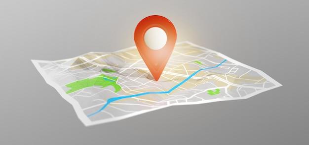 3d-rendering pin-houder op een kaart