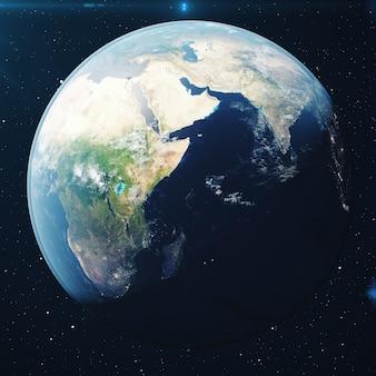 3d-rendering planeet aarde vanuit de ruimte 's nachts. de wereldbol vanuit de ruimte in een sterrenveld met het terrein en de wolken elementen van deze afbeelding geleverd door nasa.