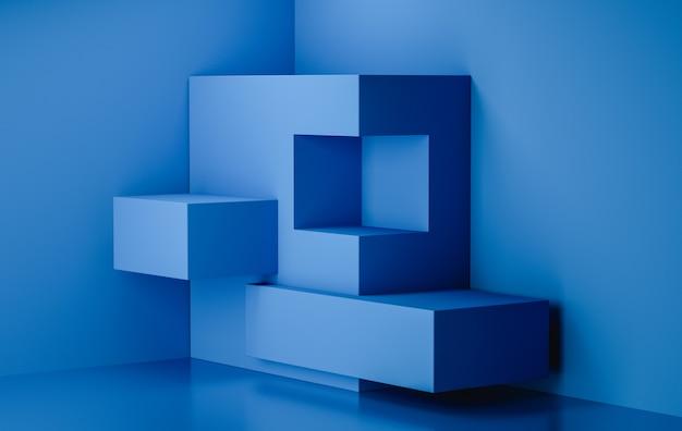 3d-rendering podium display blauwe achtergrondkleur