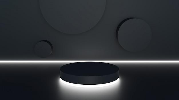 3d-rendering podium minimale zwarte muur scène