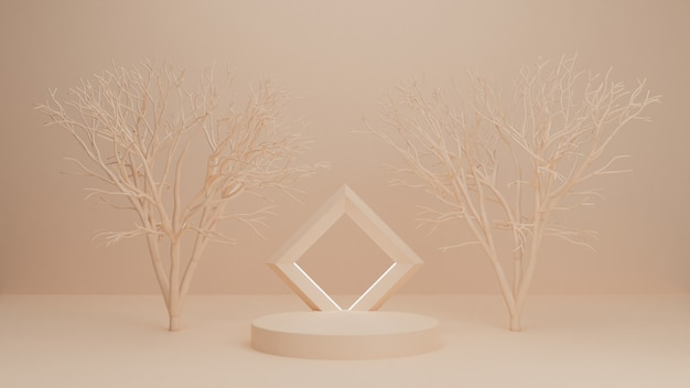 3d-rendering podium, tribune, showcase op pastel licht, abstracte achtergrond met bomen voor premium product