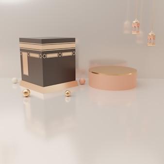 3d-rendering podiumvertoning van product eid mubarak verkoop concept