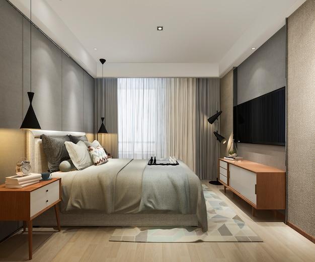 3d-rendering prachtige loft minimale vintage slaapkamer