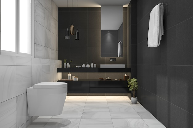 3d-rendering prachtige luxe donkere badkamer en toilet