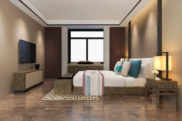 3d-rendering prachtige luxe kleurrijke vintage slaapkamer suite in hotel met tv