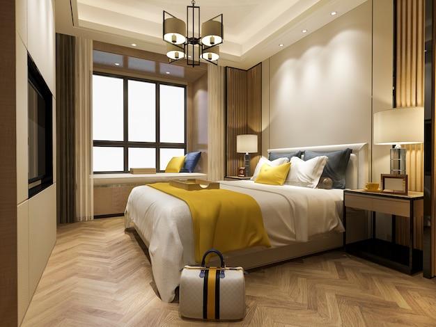 3d-rendering prachtige luxe slaapkamer suite in hotel met tv