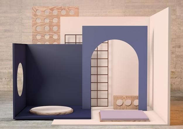 3d-rendering product voetstuk platform in donkerblauwe en grijze tinten met beige gestructureerde achtergrond