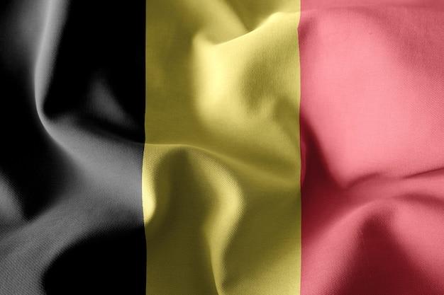 3d-rendering realistische wapperende zijden vlag van belgië